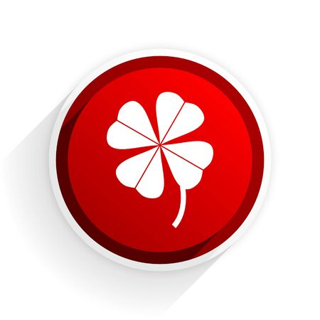 red clover: four-leaf clover flat icon with shadow on white background, red modern design web element Stock Photo