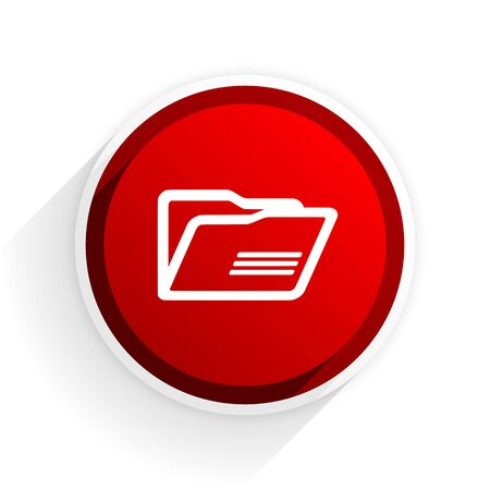 web directories: folder flat icon with shadow on white background, red modern design web element