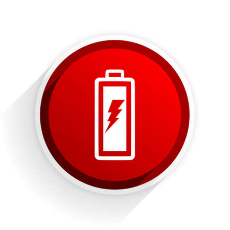 alkaline: battery flat icon with shadow on white background, red modern design web element