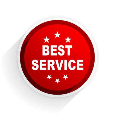 best service: best service flat icon with shadow on white background, red modern design web element
