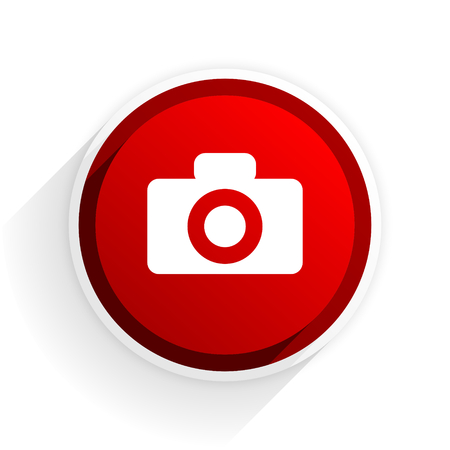 icon red: camera flat icon with shadow on white background, red modern design web element Stock Photo