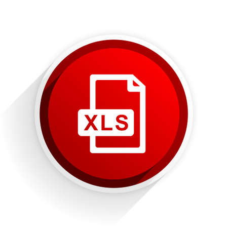 xls: xls file flat icon with shadow on white background, red modern design web element