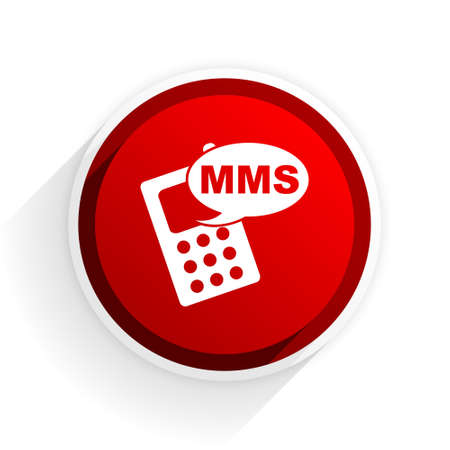 reading app: mms flat icon with shadow on white background, red modern design web element