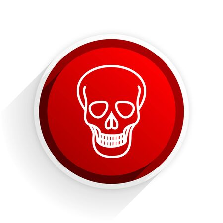 pirating: skull flat icon with shadow on white background, red modern design web element