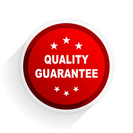 advantages: quality guarantee flat icon with shadow on white background, red modern design web element Stock Photo