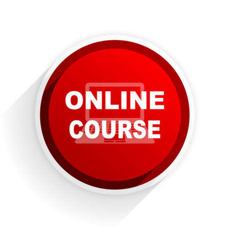 course development: online course flat icon with shadow on white background, red modern design web element Stock Photo