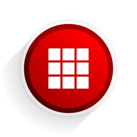 thumbnails: thumbnails grid flat icon with shadow on white background, red modern design web element