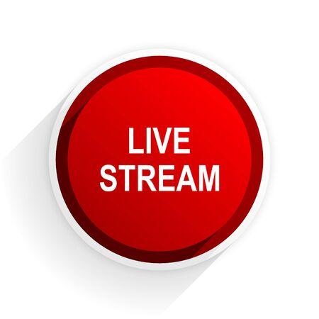 live stream tv: live stream flat icon with shadow on white background, red modern design web element Stock Photo