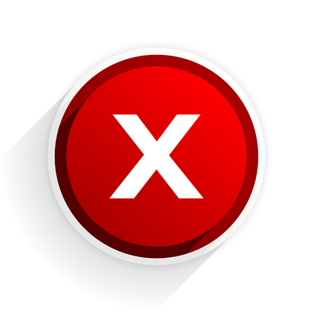 refuse: cancel flat icon with shadow on white background, red modern design web element Stock Photo