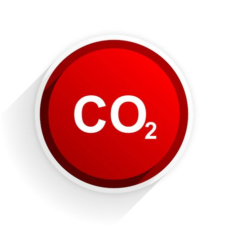 dioxido de carbono: el dióxido de carbono icono plana con sombra sobre fondo blanco, rojo moderno elemento de diseño web