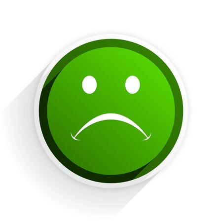 cry flat icon with shadow on white background, green modern design web element Stock Photo