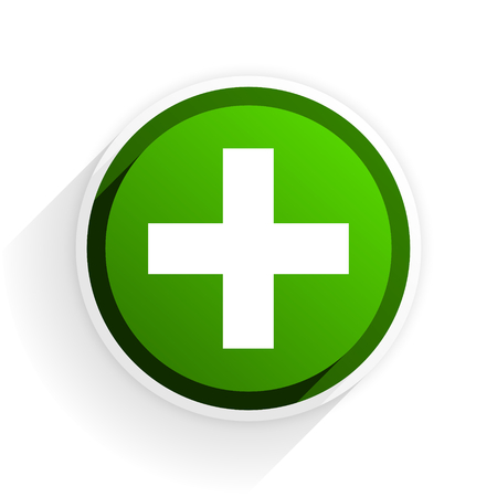 plus flat icon with shadow on white background, green modern design web element