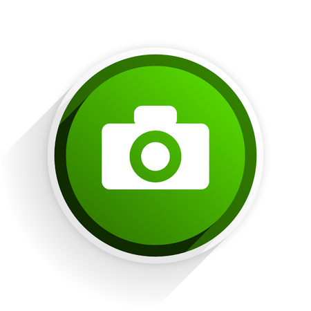 camera flat icon with shadow on white background, green modern design web element