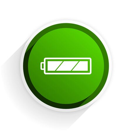 accuse: battery flat icon with shadow on white background, green modern design web element