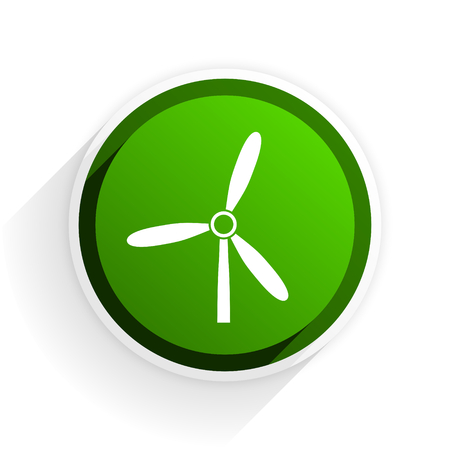 original ecological: windmill flat icon with shadow on white background, green modern design web element