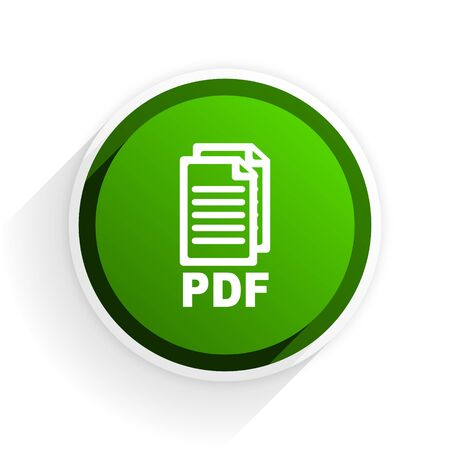bibliography: pdf flat icon with shadow on white background, green modern design web element,
