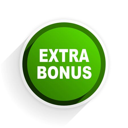 discounting: extra bonus flat icon with shadow on white background, green modern design web element