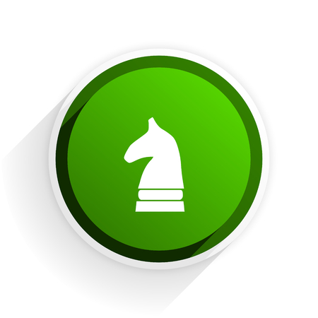 chessman: chess horse flat icon with shadow on white background, green modern design web element Stock Photo