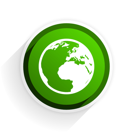 parallels: earth flat icon with shadow on white background, green modern design web element Stock Photo
