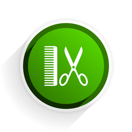 shampooing: barber flat icon with shadow on white background, green modern design web element Stock Photo
