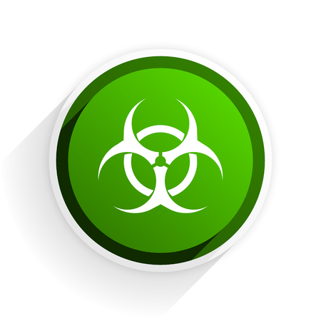 bacterioa: biohazard flat icon with shadow on white background, green modern design web element