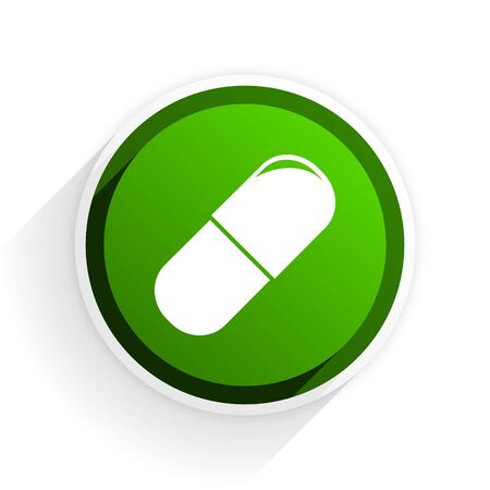 drugs flat icon with shadow on white background, green modern design web element