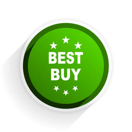 best buy: best buy flat icon with shadow on white background, green modern design web element