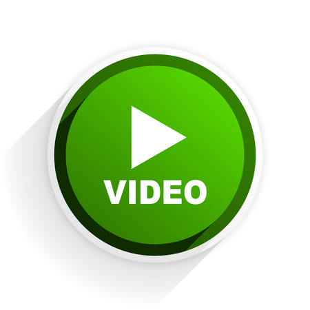 video flat icon with shadow on white background, green modern design web element