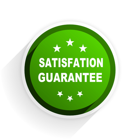 satisfaction guarantee: satisfaction guarantee flat icon with shadow on white background, green modern design web element