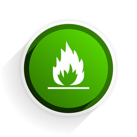 inflammable: flame flat icon with shadow on white background, green modern design web element