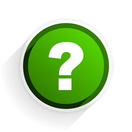 question mark flat icon with shadow on white background, green modern design web element