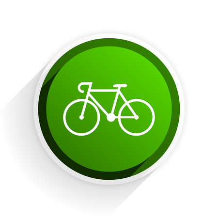 original bike: bicycle flat icon with shadow on white background, green modern design web element Stock Photo