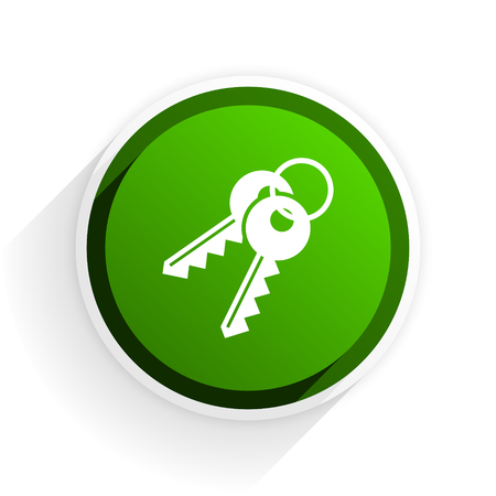 keys flat icon with shadow on white background, green modern design web element Stock Photo