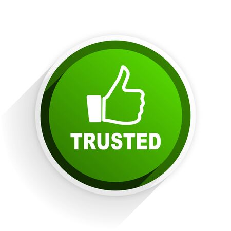 trusted: trusted flat icon with shadow on white background, green modern design web element Stock Photo