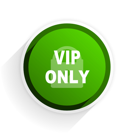 private club: vip only flat icon with shadow on white background, green modern design web element