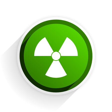 radiation flat icon with shadow on white background, green modern design web element Stock Photo