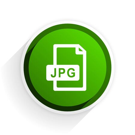 original circular abstract: jpg file flat icon with shadow on white background, green modern design web element