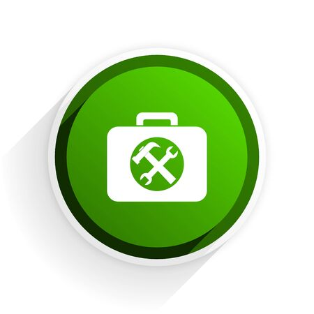 toolkit: toolkit flat icon with shadow on white background, green modern design web element