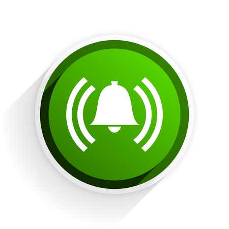 safe and sound: alarm flat icon with shadow on white background, green modern design web element