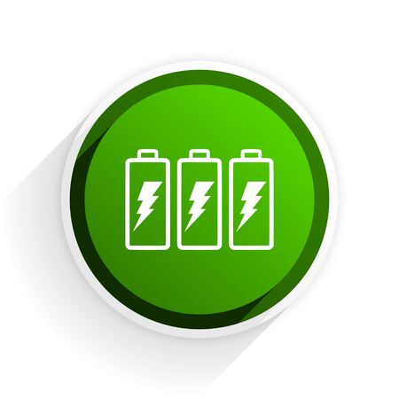 original ecological: battery flat icon with shadow on white background, green modern design web element