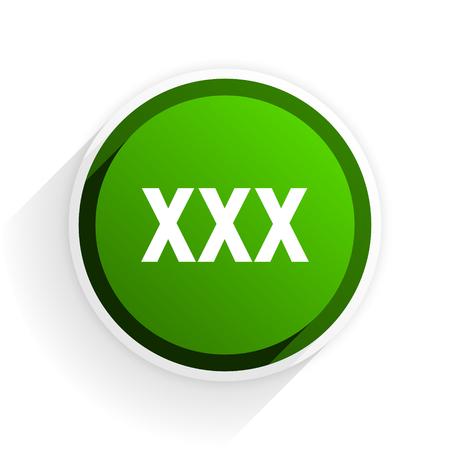 prostituta: icono xxx plana con sombra sobre fondo blanco, de diseño moderno verde del elemento del Web Foto de archivo