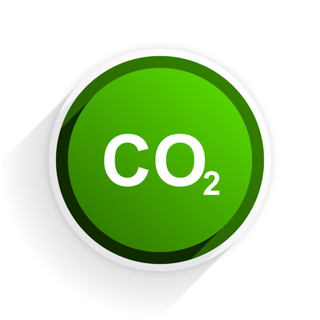 original ecological: carbon dioxide flat icon with shadow on white background, green modern design web element