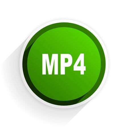 mp4: mp4 flat icon with shadow on white background, green modern design web element Stock Photo