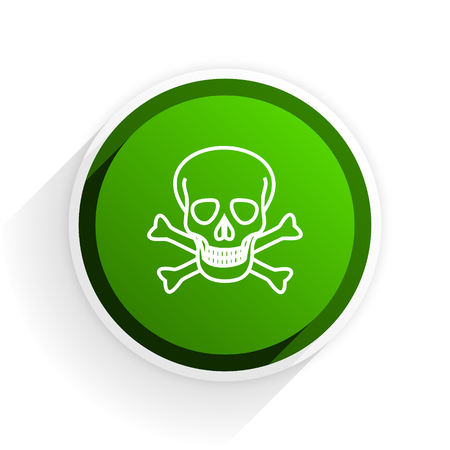 pirating: skull flat icon with shadow on white background, green modern design web element