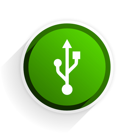 usb flat icon with shadow on white background, green modern design web element