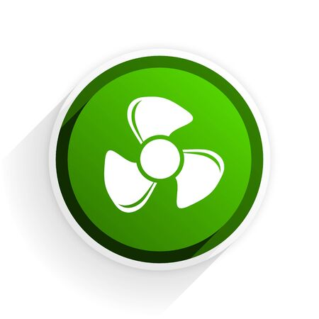 fan flat icon with shadow on white background, green modern design web element Stock Photo
