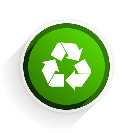 original ecological: recycle flat icon with shadow on white background, green modern design web element Stock Photo