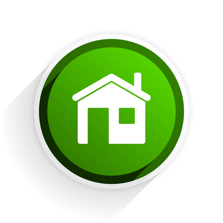 house flat icon with shadow on white background, green modern design web element Stock Photo