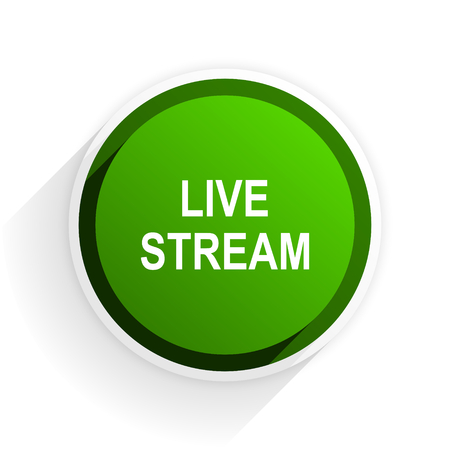 live stream: live stream flat icon with shadow on white background, green modern design web element Stock Photo