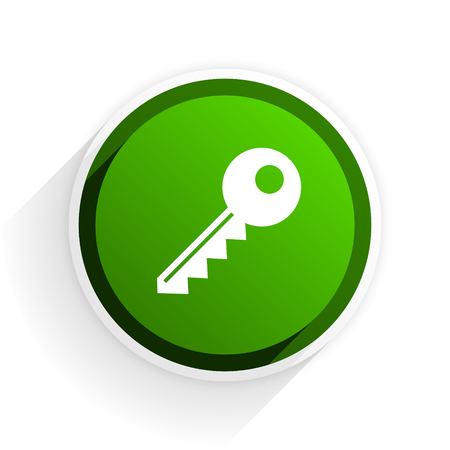 key flat icon with shadow on white background, green modern design web element